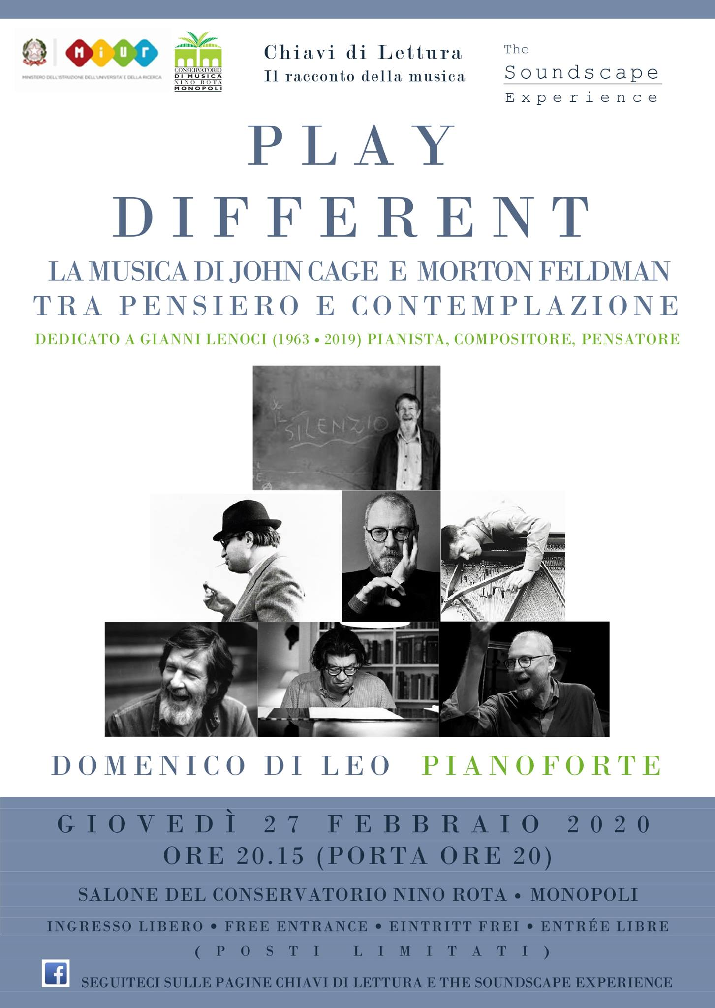 PLAY DIFFERENT: La musica di Cage e Feldman